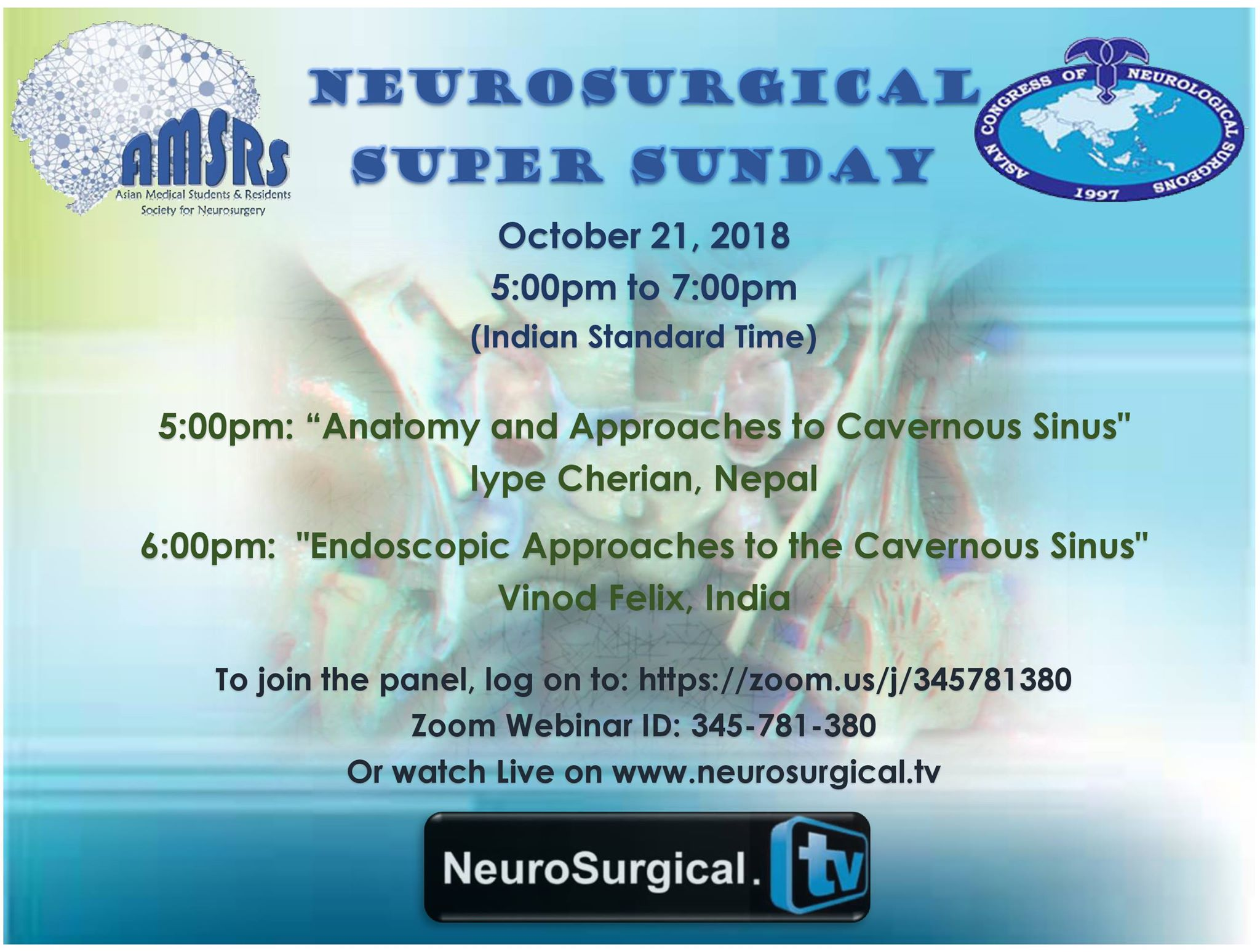 "Neurosurgery Super Sunday recorded, by Vinod Felix MD, of India, ""Endscopic Exploration of the Cavernous Sinus"""