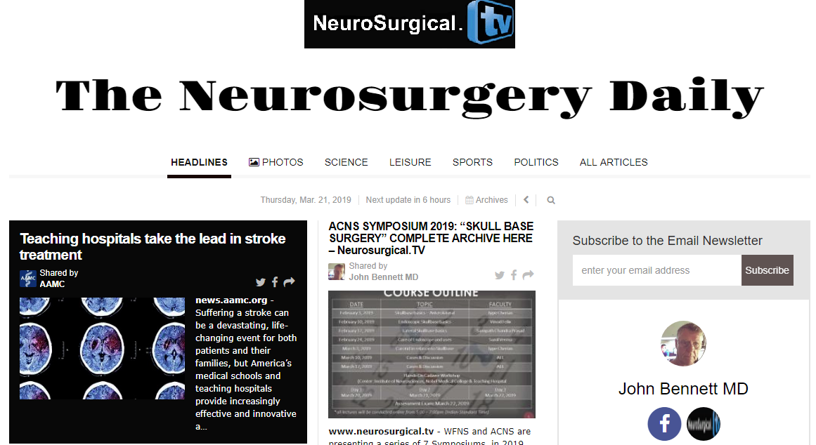 """See and subscribe to, """"The Neurosurgery Daily"""", curated by AI from Latest Neurosurgery literature"""