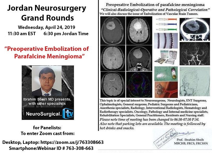 "Recorded today, LIVE, HERE…..""Neurosurgery Grand Rounds"" from Amman, Jordan"