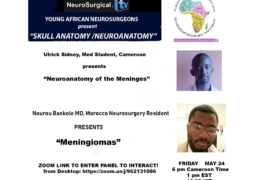 "Recorded from Cameroon, Africa few days ago,  Young Neurosurgeons of Africa presented ""Neuroanatomy of the Meninges"", and ""Meningiomas"""