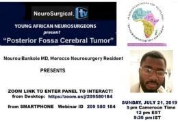"Recorded Live Webinar, here, ""Future Neurosurgeons of Africa"", with Nourou Bankole of Morocco Presenting"