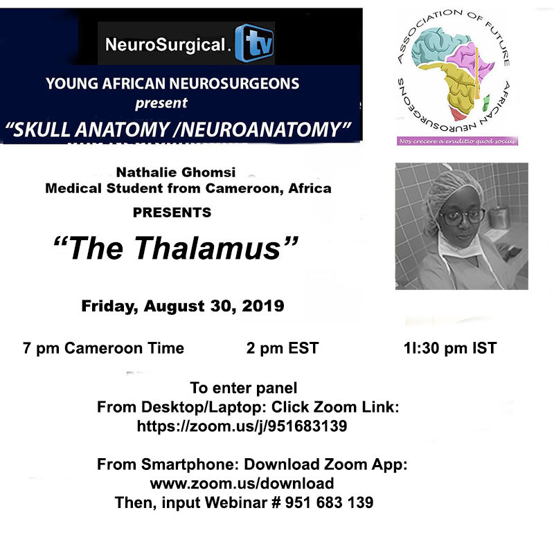 NOW, LIVE  Future Neurosurgeons of Africa present two presentations on the Thalumus