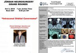 "Jordan Neurosurgery Grand Rounds, Oct 2, 2019, ""Intraconal Orbital Cavernoma"", presented by Dr.  Ibrahim Sbeih"
