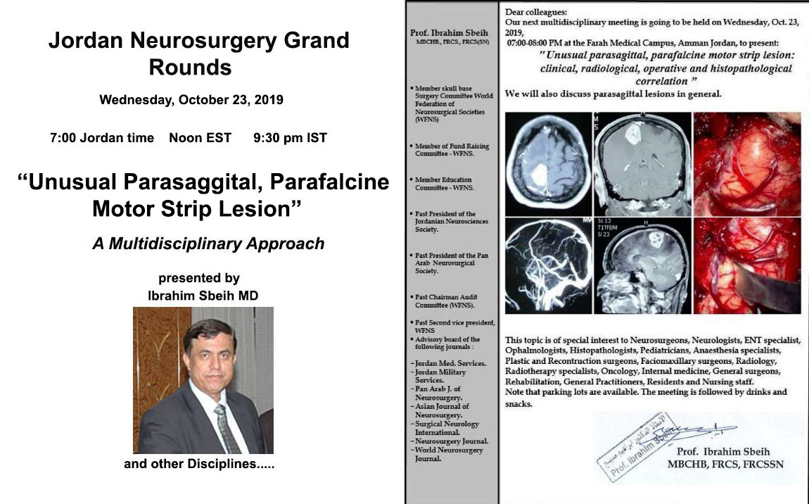 Webcast LIVE, Broadcast and Recorded HERE, Jordan Neurosurgery Grand Rounds
