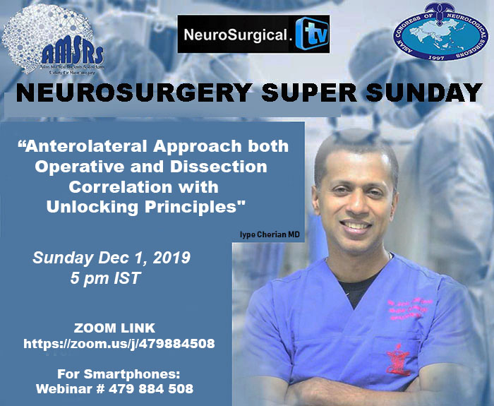 Neurosurgery Super Sunday LIVE HERE, in a few minutes….Iype Cherian presenting