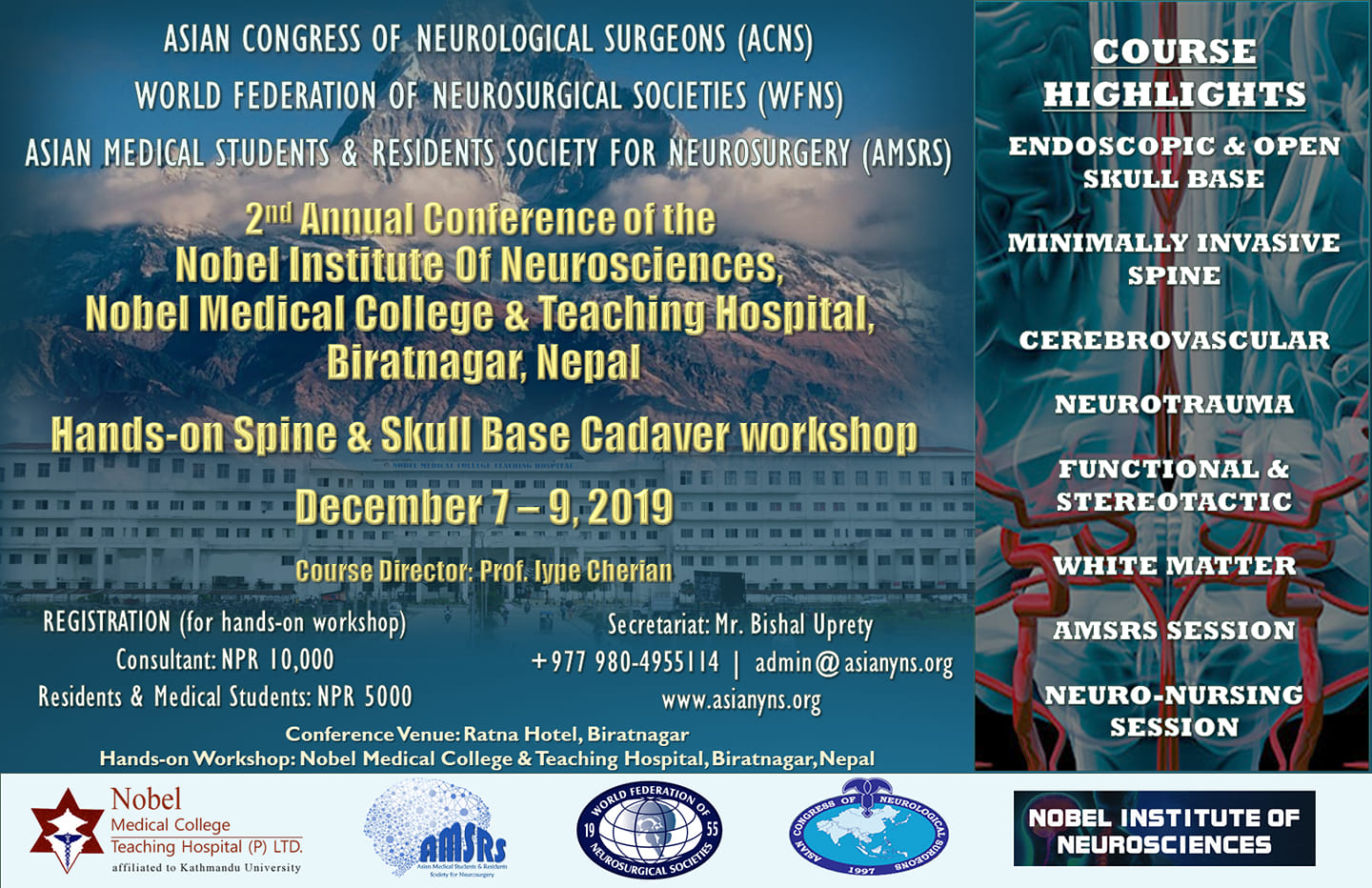 "Neurosurgical TV televising ""2nd Annual Hands-on Spine/Skull Base Cadaver Workshop"" this weekend"
