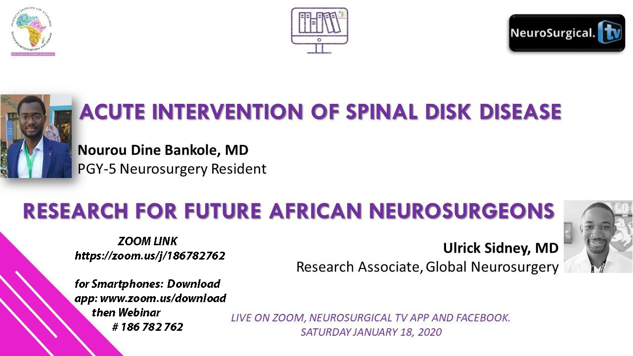 Future Neurosurgeons of Africa have two presentations NOW, LIVE, HERE