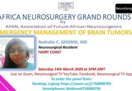 Africa Neurosurgery Grand Rounds on Saturday 11 am EST, 6 pm Cameroon time