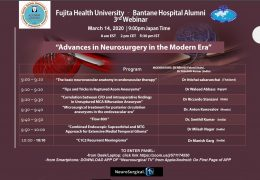 "Webinar from Japan Saturday 8 am EST, 9 pm Tokyo time, on ""Innovations in Neurosurgery"" from Fujita Health Fellow presenting"