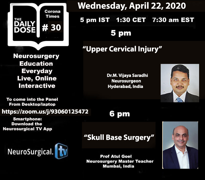 """Daily Dose of Neurosurgery Education: #30"" at 5 pm IST LIVE ONLINE"