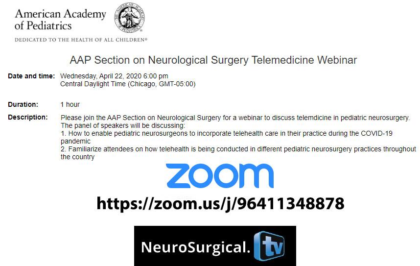 Telemedicine in Pediatric Neurosurgery Webcast was LIVE