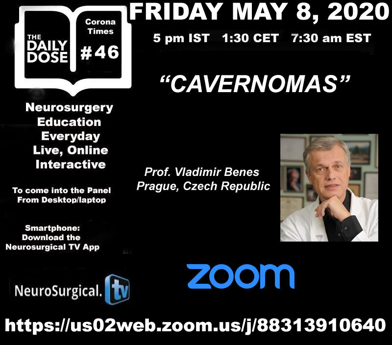 "Daily Dose #46 of Neurosurgery Education, with Vlad Benes today, topic, ""Cavernomas"" in a few……"