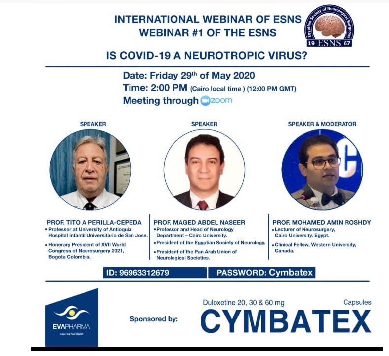 International; Webinar of Egypt Society of Neurosurgery Friday, May 29th, 2020 Noon GMT