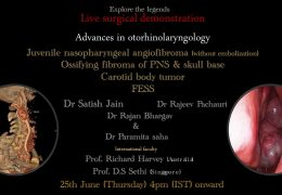 ENT Case Presentations, Thursday June 25, 4 pm IST with operating ENT Dr. Satish Jain