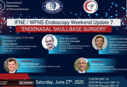 NOW, LIVE, WFNS Endoscopy Saturday: Endonasal Skull Base Surgery, from Germany, with Dr Henry Schroeder