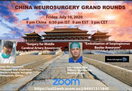 Friday, China Neurosurgery Grand Rounds LIVE at 9 pm China time, 9 am EST, 3 pm CET, 6:30 pm IST, with Juha  presenting