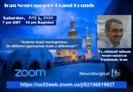 LIVE at 7 pm GMT Iraq Neurosurgery Grand Rounds, today SUNDAY