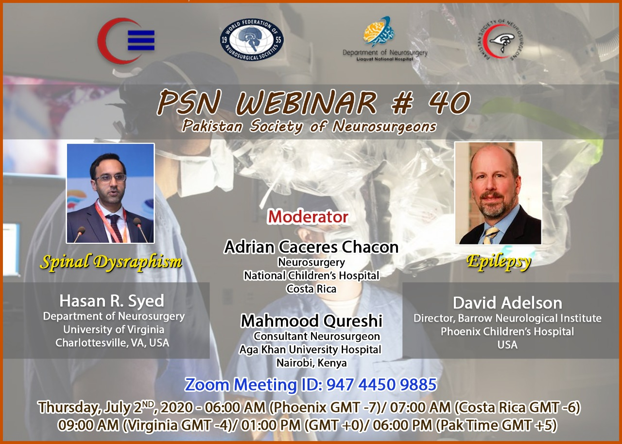 "IN LESS THAN 30 Minutes……LIVE………Pakistan Society of Neurosurgery presents on ""Spinal Dysraphism/Epilepsy"""