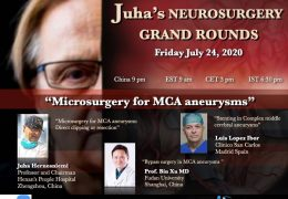 Friday 9 pm China time, 6:30 pm IST, Juha's Neurosurgery Grand Rounds, with three presentations on Microsurgery for MCA Aneurysms