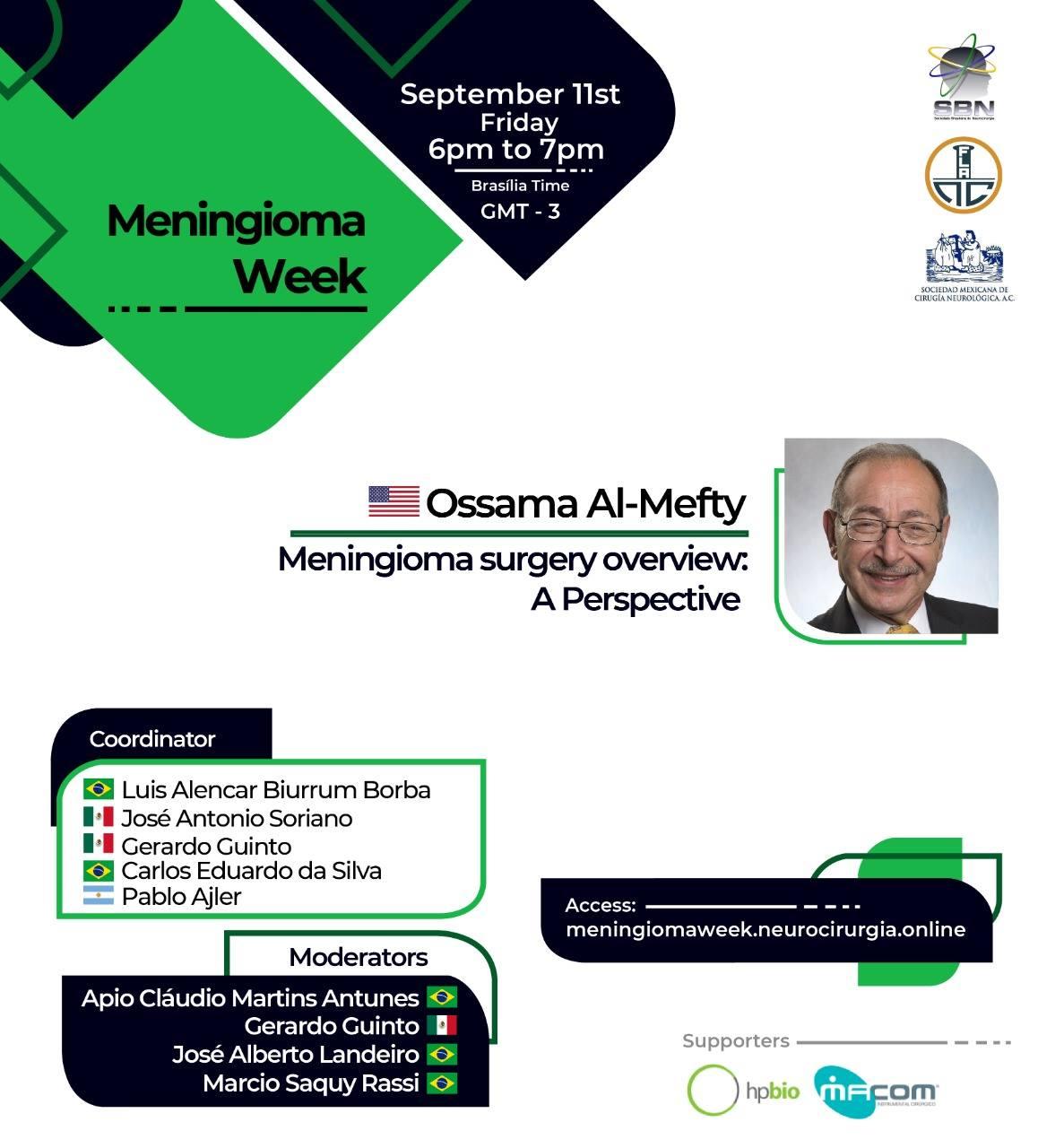 NOW LIVE, Brazil Neurosurgery Society presents Ossama Al Mefty MD