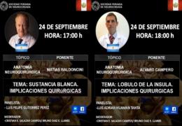 Hoy, a las 5 pm tiempo Peru, la Sociedad de Neurocirugia de Peru, presenta dos charlas de Neuroanatomia