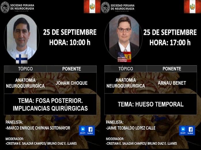 Ahora, Arnau Benet MD de Barrows Institute,  vivo de La Sociedad Peruano de Neurocirugia AHORA, con dos charlas de Neuroanatomia