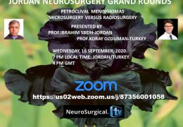 "NOW, LIVE…..7 pm Amman time, Jordan Neurosurgical Grand Rounds LIVE presenting ""Petroclival Meningiomas"""