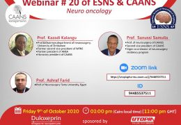 Collaboratioin between ESNS and CAANS, on Neurooncology: Friday, October 9, 2020 at NOON GMT