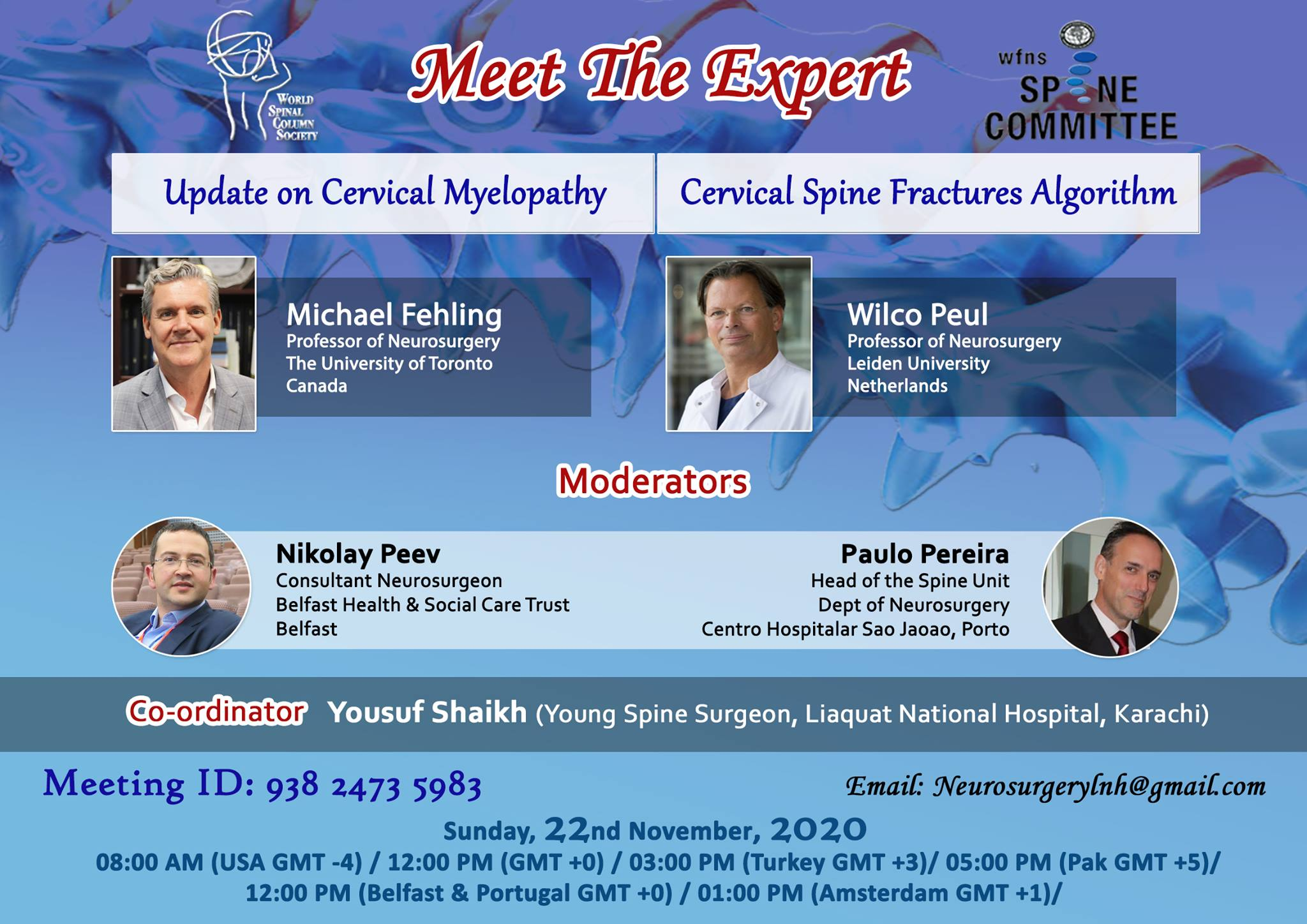 """Sunday, Nov 22, WFNS Spine, """"Meet the Expert"""", Noon GMT"""