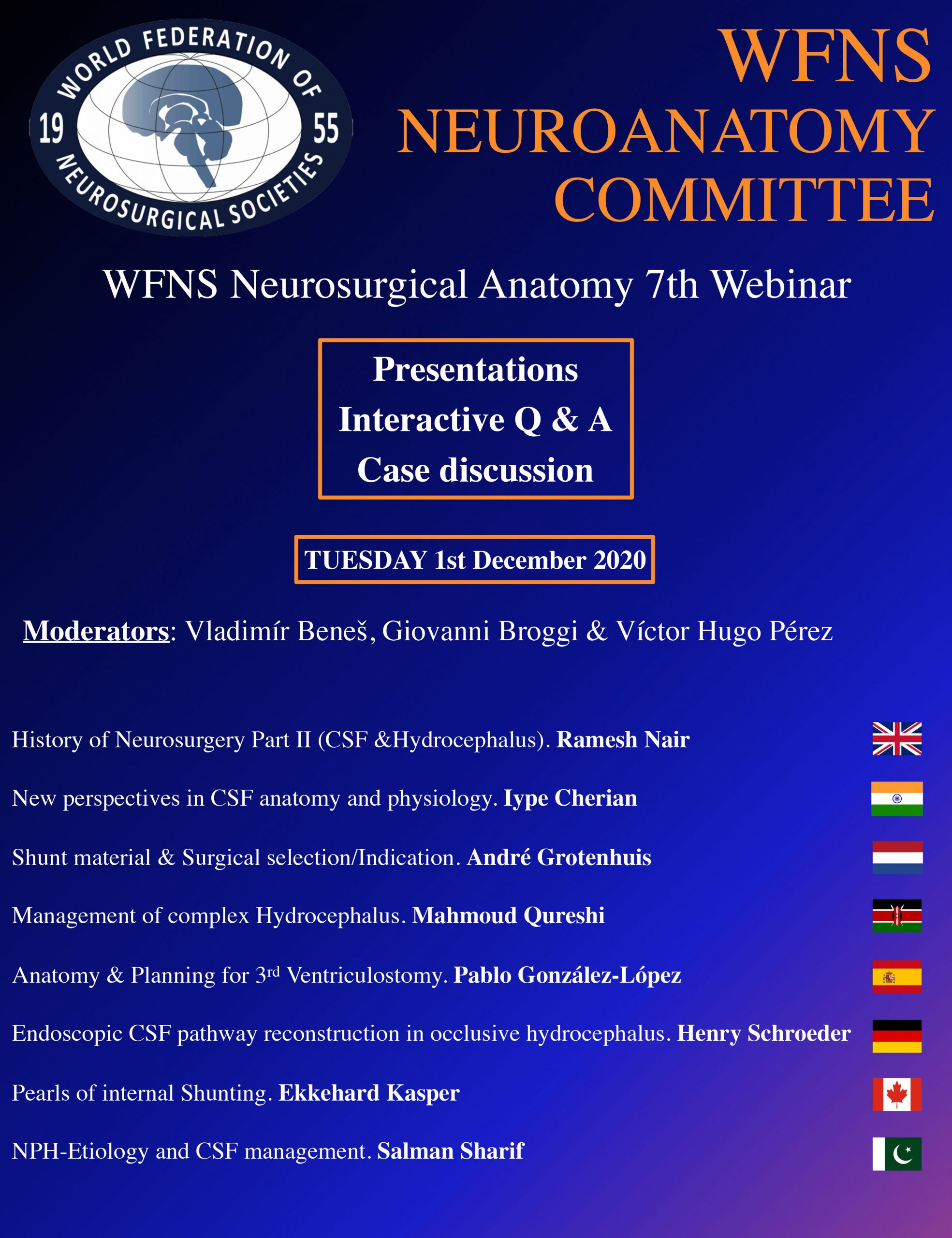 WFNS Neuroanatomy Series Continues, Tuesday Dec 1, and Dec 2