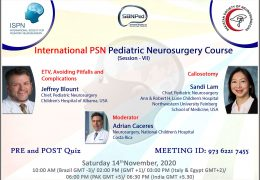LIVE, SATURDAY, International PSN Pediatric Neurosurgery Course, with two presentations
