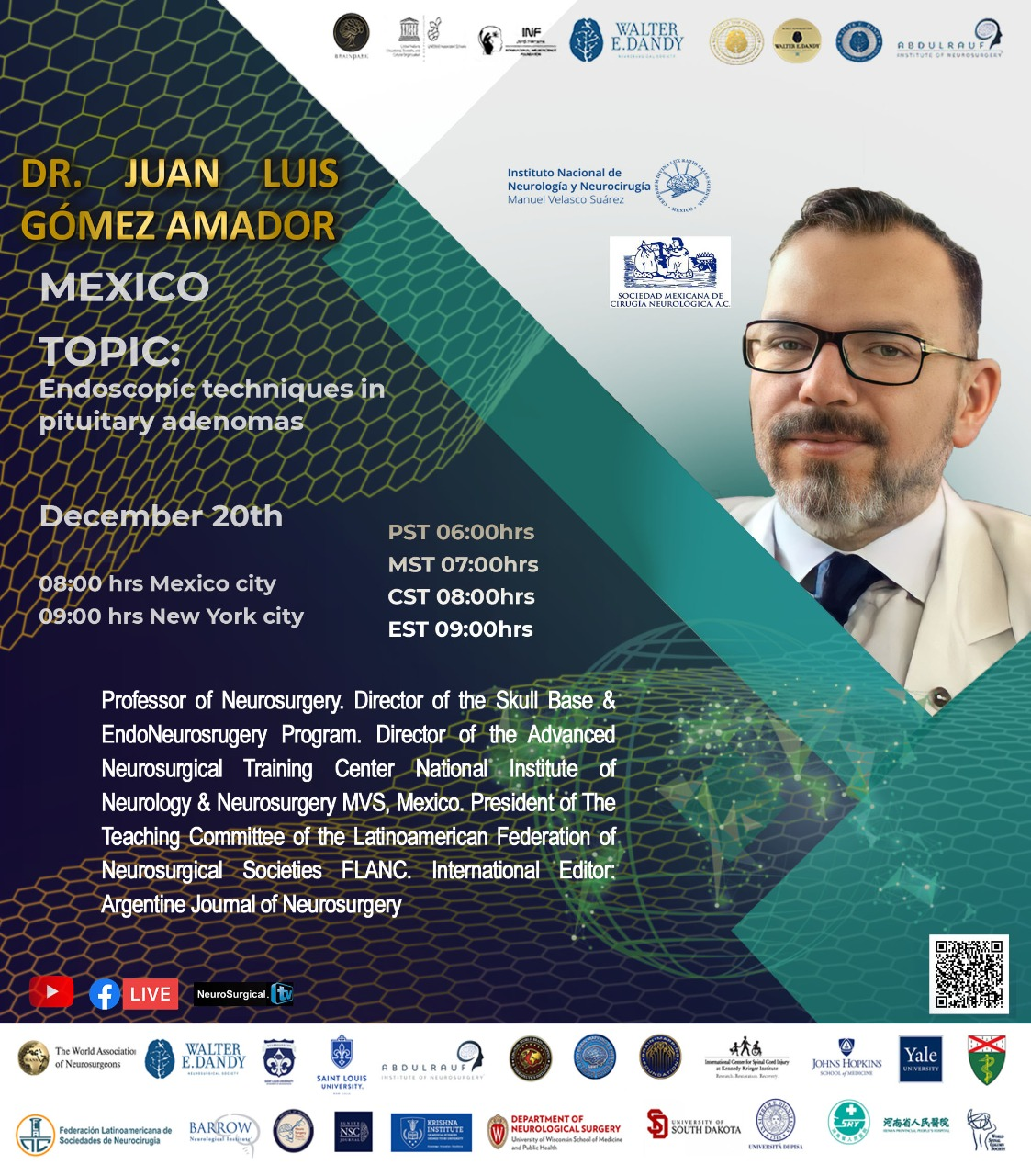 NOW, LIVE, UNESCO/Walter Dandy resume conference with presentations today, starting with Juann Luis Gomez Amador MD of Mexico