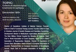 """Victoria Palinska has been added to UNESCO/Walter Dandy conference at 2 pm EST, """"Criteria of Neurosurgical Treatment in Epilepsy"""""""
