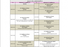 SCHEDULE FOR LIVE WEBCAST OF SPINE ENDOSCOPY FROM KOREA JAN 21/22, 2021