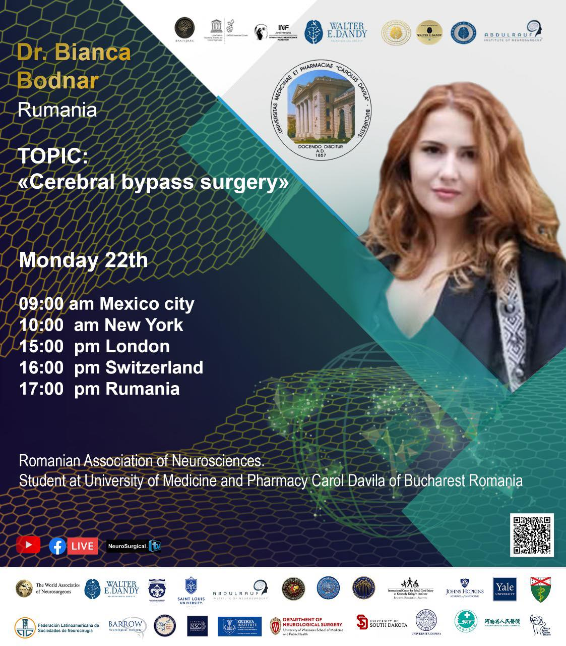 "NOW LIVE, Dr. Bianca Bodnar: ""Celebral bypass surgery"" from Mexico City in Walter Dandy/UNESCO Collaboration"