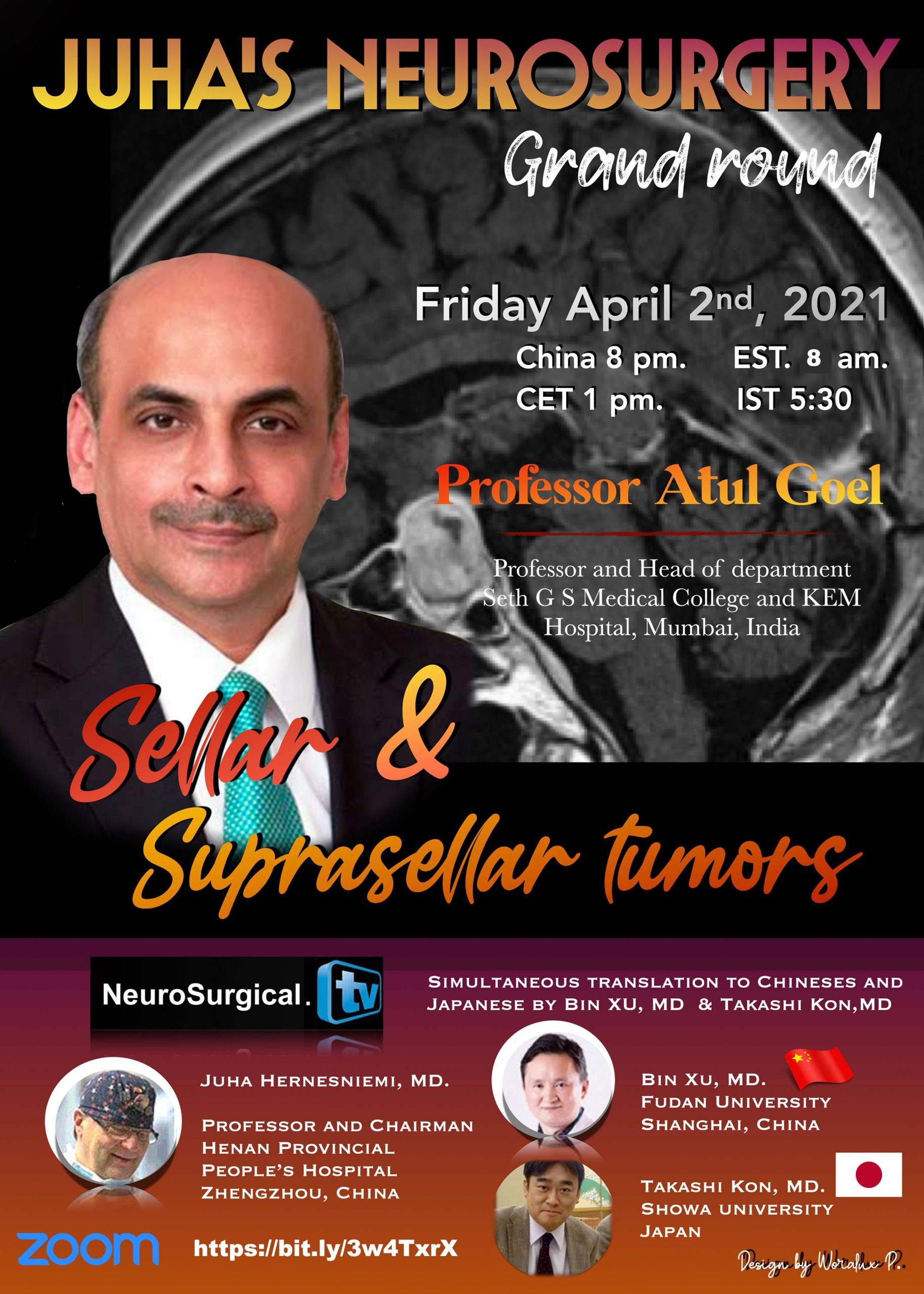 In about an Hour, Juha's China Neurosurgery Grand Rounds, with Atul Goel presenting………………