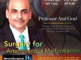 "NOW LIVE LIVE LIVE,  Juha's China Neurosurgery Grand Rounds, Friday 8 pm China time, with Atul Goel MD, ""Surgery for Arteriovenous Malformations"""