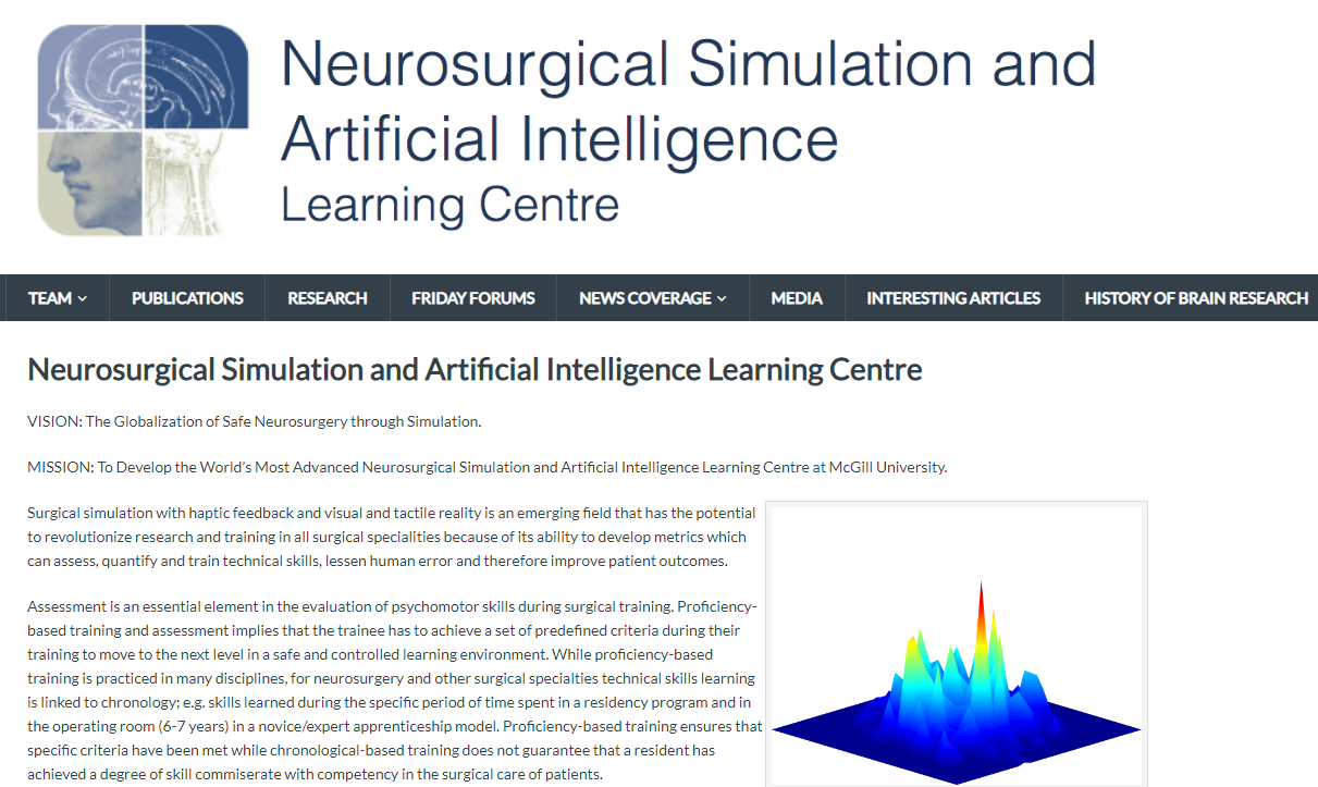Neurosurgical Simulation Center at McGill of Montreal, Canada, offers weekly webcasts at 4 pm EST every Friday