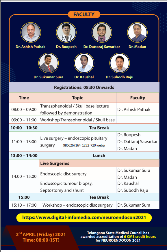 Recorded Day #3 of LIVE, Neuroendocon from India, 7th Annual Meeting of Neuroendoscopy Society – India, April 4, 2021