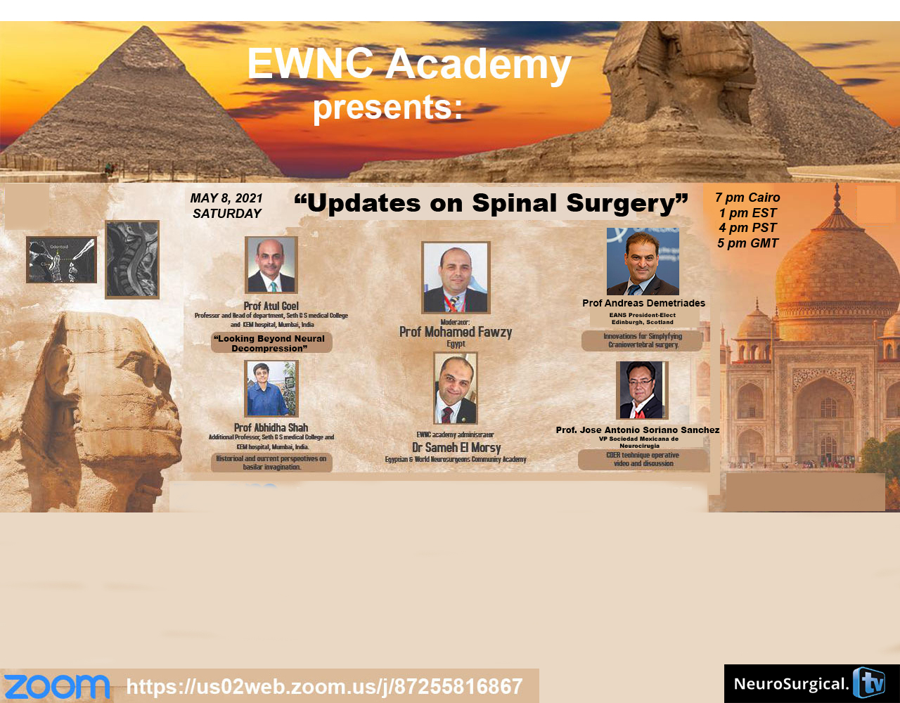"Neurosurgical TV Collaborates with EWNC of Egypt to produce ""Updates in Spine Surgery"" May 8, 7 pm Cairo time"
