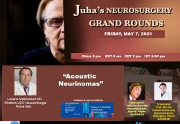 "NOW LIVE LIVE LIVE……Friday, 8 pm China time, Juha's China Neurosurgery Grand Rounds, with Luciano Mastronardi MD presenting ""Acoustic Neurinomas"""