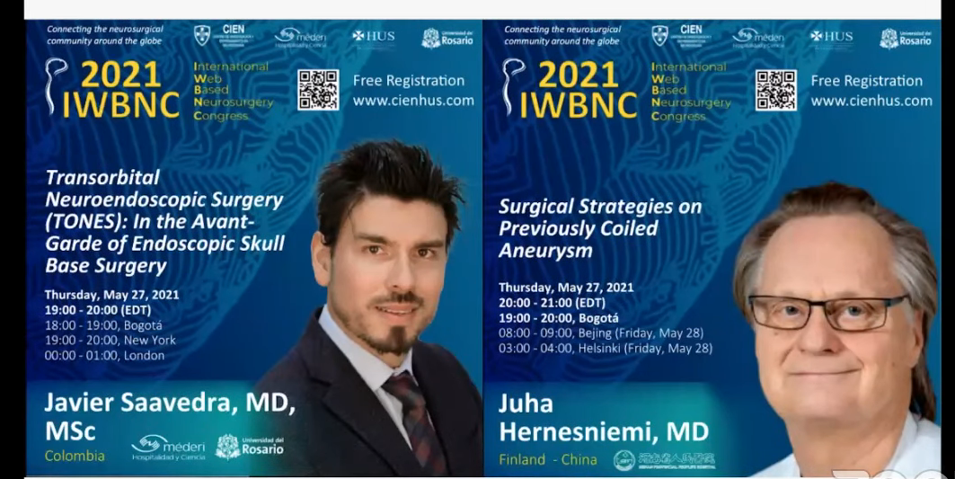 """NOW LIVE, Javier Saavedra MD from Colombia presents """"Transorbital Neuroendoscopic Surgery"""""""