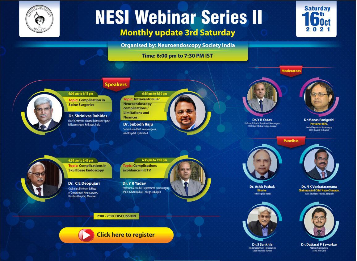 SATURDAY, LIVE….NESI Webinar Series II, 6 pm IST by the Neuroendoscopy Society of India